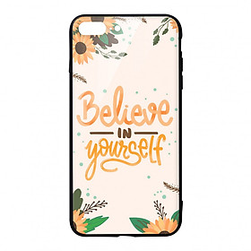 Ốp lưng KÍNH CƯỜNG LỰC VIỀN ĐEN cho iPhone 7 Plus BELIEVE YOURSELF - Hàng chính hãng