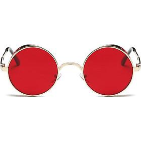 Round Metal Carved Colorful Sunglasses Fashion Eyewear Sun Proof Unisex