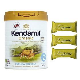 Sữa bột Nguyên kem công thức hữu cơ KENDAMIL ORGANNIC số 2: ORGANIC FOLLOW ON MILK (800G) ( cho trẻ từ 6-12 tháng tuổi) - Phát triển chiều cao và trí não, tăng cân, tăng sức đề kháng – Tặng 3 bánh quế cuộn hiệu Kapad