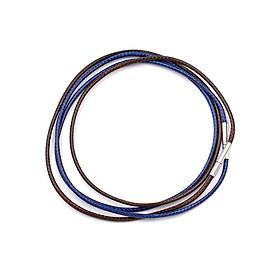 Combo 2 dây vòng cổ cao su xanh dương, nâu móc inox DCSXDN1 - Dây dù bọc cao su