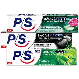 Combo 3 Kem Đánh Răng P/S: Bảo Vệ 123 Nha Đam - Mẫu Đơn (180g) + Than Hoạt Tính & Tre (180g) + 123 Trà Xanh (190g)