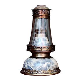 Đèn thờ dầu men rạn Bát Úp cổ gốm sứ Bát Tràng (đèn dầu, đèn thờ cúng)
