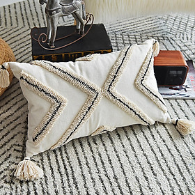Tufted Cushion Cover Pillowcase Morocco Style for Sofa Bed Couch Home Decor
