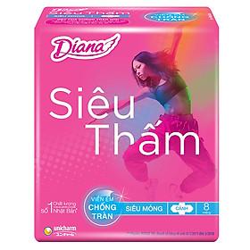 Băng Vệ Sinh Diana Siêu Thấm Siêu Mỏng Cánh 23cm (Gói 8 Miếng)