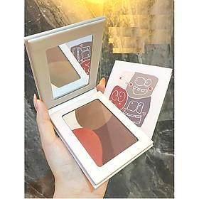 Hộp phấn bốn màu má hồng,highlight làm sáng bóng mũi nâng cơ mặt GECOMO(Tặng hộp phấn mắt  Nature Aimeili)