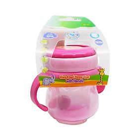 Bình tập uống ống hút đáy nặng Ami Thái Lan 250ml (AM55411) - Màu hồng