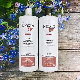 Bộ dầu gội xả Nioxin 4 Colored Hair Progressed Thinning cho tóc nhuộm có dấu hiệu thưa rụng Mỹ 1000ml