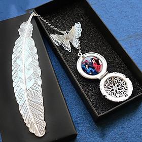 ( không kèm hộp ) Bookmark lông vũ gắn điệp SƠN HÀ LỆNH THIÊN NHAI KHÁCH Cung Tuấn Trương Triết Hạn thần tượng idol diễn viên kim loại mỏng