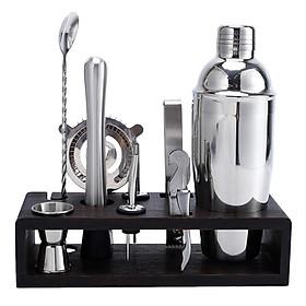 10pcs/Set Stainless Steel Bartender Kit Cocktail Martini Shaker Wooden Stand Set