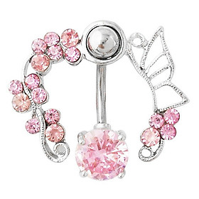 Hình đại diện sản phẩm 14G Butterfly Rhinestone Belly Barbell Button Ring Navel Body Piercing Jewelry