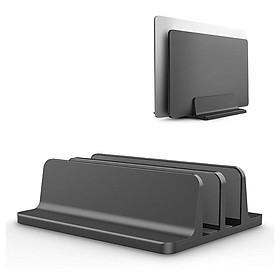 Giá đỡ nhôm nguyên khối hai khe kẹp dựng đứng dành cho Laptop Macbook Ipad Surface