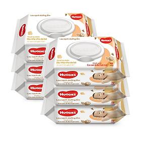Combo 6 gói Khăn giấy ướt cho trẻ sơ sinh HUGGIES (Gói 72 tờ) - Chiết xuất Cao cao & Bơ hạt mỡ