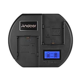 Ổ Sạc Nhanh Andoer Màn Hình LCD Đầu Cắm USB Cho Pin Canon LP-E6 Cho Máy Ảnh Canon EOS 60D 70D 80D 6D 6D2 7D 7D2 5DSR 5D2 5D3 5D4 MarK II III IV (2 Khe) Đen