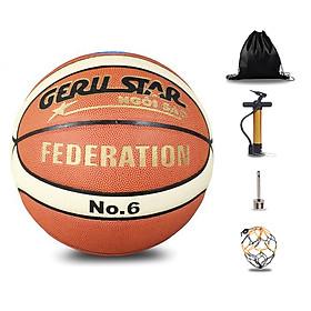 Banh bóng rổ da cho Nữ - Geru Star Federation - Size 6 - Tặng kèm Balo rút + Bơm tay + Kim Bơm + Túi lưới