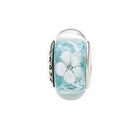 Hình đại diện sản phẩm Hạt charm DIY PNJSilver hình dẹt tròn màu xanh hoa văn 0000K060169-BO
