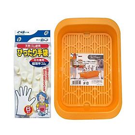 Combo Khay Úp Ly Chén Inomata + Đôi Găng Tay Cổ Ngắn Nấu Ăn Tiện Lợi - Nội Địa Nhật Bản