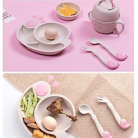Bộ dụng cụ bàn ăn cho bé, bộ bát đĩa ăn dặm cho bé chất liệu lúa mạch an toàn sức khỏe