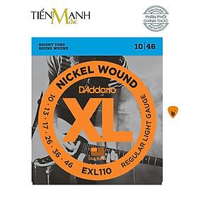 [Chính Hãng] D'Addario EXL110 Bộ Dây Đàn Nickel Wound Electric Guitar Regular Light 10-46 - Kèm Móng Gây DreamMaker