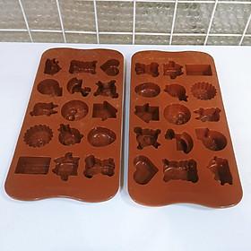 Bộ 2 khuôn silicon đổ thạch, pudding, socola 15 ô