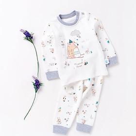 Antarctic Nanjiren children's underwear set cotton long-sleeved boy pajamas spring and autumn baby clothes female baby autumn clothes long pants mushroom bear - light gray 66