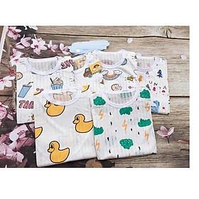 Combo 5 bộ Cotton Giấy CỘC TAY đủ size cho bé từ 5-15kg có họa tiết ngộ nghĩnh cho cả bé trai và gái