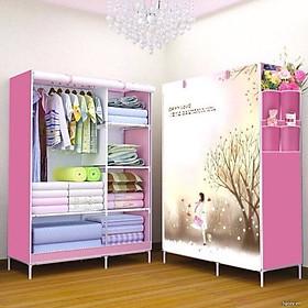 Tủ vải đựng quần áo 2 buồng 6 ngăn, tủ quần áo vải bạt in hình 3D họa tiết ngẫu nhiên (Giao màu ngẫu nhiên)