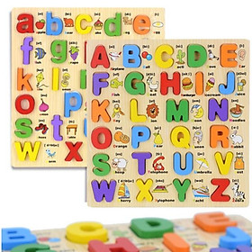 Combo bảng song ngữ chữ cái tiếng anh in thường và in hoa