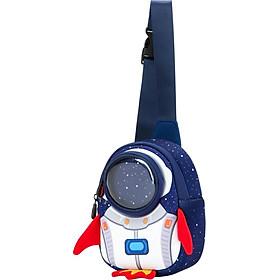 Uek children's bag girl messenger bag blue rocket chest bag boys and girls small bag tide shoulder baby bag