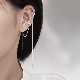 Bông tai một mảnh dây dài kẹp tai nhịp tim