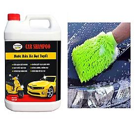 Bộ Nước rửa xe cho ô tô xe máy Car Shampoo (Can 5 lít) + Găng tay chuyên dụng lau rửa xe siêu mềm, thấm hút tốt