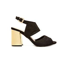 Giày Sandal Gót Vuông Phối Vàng Ánh Kim Sulily SGV1-I17DEN