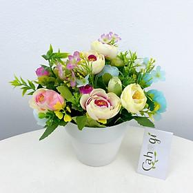 Hoa Giả Chậu Hoa Hồng Cổ Điển Cắm Sẵn