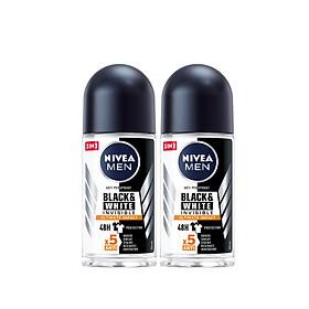 Combo 2 Lăn Ngăn Mùi NIVEA MEN Black & White Ngăn Vệt Ố Vàng Vượt Trội 5in1 (50ml) - 85392
