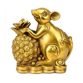 Tượng con chuột bằng đồng bên quả dứa thơm phong thủy Hồng Thắng