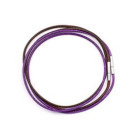 Combo 2 dây vòng cổ cao su nâu, tím móc inox DCSNI1 - Dây dù bọc cao su