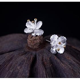 Bông Tai Bạc Nữ Hình Hoa BT180