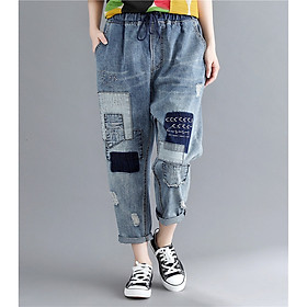 Loose casual patch ripped washed jeans