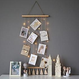 dây treo tranh ảnh vật phẩm trang trí macrame handmade kèm kẹp gỗ