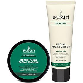 Bộ Đôi Thải Độc, Dưỡng Sáng Da Sukin Mặt Nạ Đất Sét Super Greens Detoxifying Facial Masque 100ml & Kem Dưỡng Ẩm Signature Facial Moisturiser 50ml