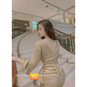 Váy Thiết Kế body lụa bèo eo, váy body lụa hở lưng quyến rũ cực chất - H&N Store