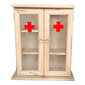 Tủ thuốc gia đình, tủ dựng thuốc được làm bằng 100% gỗ thông chắc chắn, tủ dược chia thành nhiều ngăn mặt kính trong suốt giúp dể dàng nhìn thấy thuốc bên trong hộp
