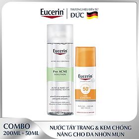 Bộ Kem Chống Nắng Cho Da Nhờn & Mụn Eucerin Sun Gel-Cream Dry Touch Oil Control SPF50+ 50ml và Tẩy Trang Cho Da Mụn Pro Acne 200ml