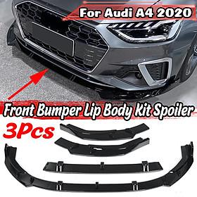 3Pcs Glossy Black Front Bumper Lip Body Kit Spoiler Splitter For Audi A4 2020