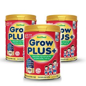 Bộ 3 lon sữa bột GrowPLUS+ Đỏ 900 Gr : sữa dành cho trẻ từ 1- 10 tuổi bị suy dinh dưỡng thấp còi (mẫu mới) của NutiFood