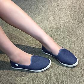 Giày slip on nữ mũi tròn búp bê siêu mềm êm chân chuyên dụng đi bộ tôn dáng đẹp - màu xanh jeans vải Canvas