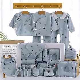 Set đồ sơ sinh quà tặng cho bé 22 chi tiết coton có hộp sang chảnh