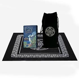 Combo Bộ Bài Bói Mystical Cats Tarot Cao Cấp và Khăn Trải Bàn Tarot  và Túi Đựng Tarot