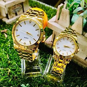 Đồng hồ đôi thời trang nam nữ Rs2, dây kim loại mặt tròn sang trọng.