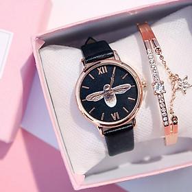Đồng hồ đeo tay nam nữa cực xinh mặt họa tiết kiểu con ong cute DH87