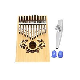 Đàn Kalimba gỗ BWS-HV 17 phím chuẩn thumb piano kèm đủ phụ kiện (Búa chỉnh âm, dán nốt, túi đựng, sách hướng dẫn) Kèm kèn Kazoo + Bọc ngón tay